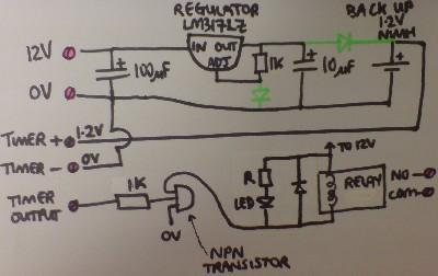 Circuit diagram for a relay controlled by a converted mains powered programmable timer