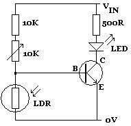 LDR darkness activated circuit