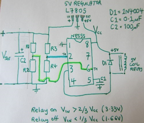 ne555 low voltage disconnect schematic