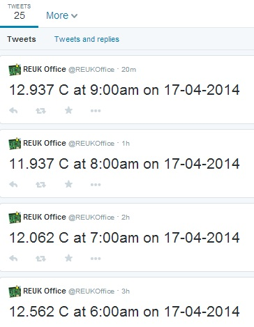 Temperature sensor readings automatically tweeted to twitter from a Raspberry Pi