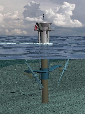 Artist's impression of MCT Seagen pile mounted twin rotor tidal turbine