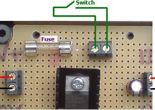 12 Volt regulator with fuse AND switch terminal connections