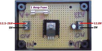 12 Volt DC regulator with 1 Amp fuse fitted