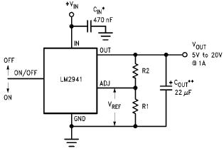 Schematic of a typical LM2941C circuit