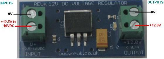 Connecting up the REUK 12 Volt DC voltage regulator