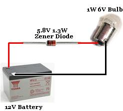 Connect Zener diode with reverse bias in series with a light bulb to supply light bulb with correct voltage