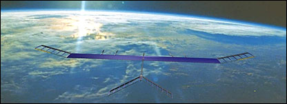 Zephyr solar powered plane flying at 58,000 feet into the sunset